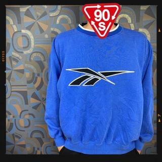 リーボック(Reebok)のリーボック 90s スウェット トレーナー 青 ブルー 刺繍ロゴ デカロゴ(スウェット)