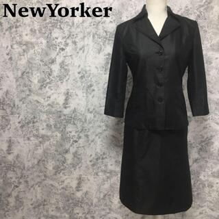 ニューヨーカー(NEWYORKER)のニューヨーカー フレアスカート ジャケット セットアップスーツ 黒 M相当 光沢(スーツ)