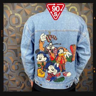 ディズニー(Disney)のディズニー 90s デニムジャケット ヴィンテージ ミッキー グーフィー リー(Gジャン/デニムジャケット)