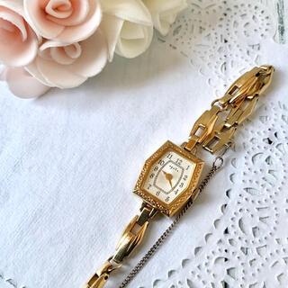【美品】agete アガット 腕時計 イエローゴールド アンティーク調