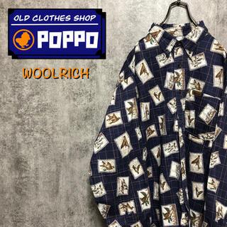 WOOLRICH - ウールリッチ☆メキシコ製レザーロゴアニマル柄カモ柄総柄シャツ 90