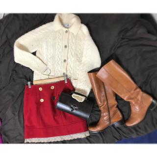 ミニマム(MINIMUM)の美品 minimum 台形スカート 赤 サイズM ウール(ひざ丈スカート)