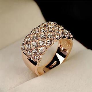 14号ゴールドクリスタルパヴェリングAAA級czダイヤモンド(リング(指輪))