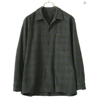 COMOLI - COMOLI 20AW ウールチェック オープンカラーシャツ グリーン 2