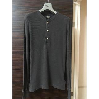 ダブルアールエル(RRL)のRRL ワッフル コットン ヘンリーシャツ ブラック XS キムタク(Tシャツ/カットソー(七分/長袖))