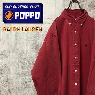 Ralph Lauren - ラルフローレン☆ワンポイント刺繍ロゴBDビッグチノシャツ 90s