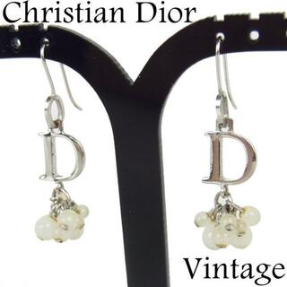 Christian Dior - クリスチャン ディオール ヴィンテージ ホワイト ビーズ フック ピアス