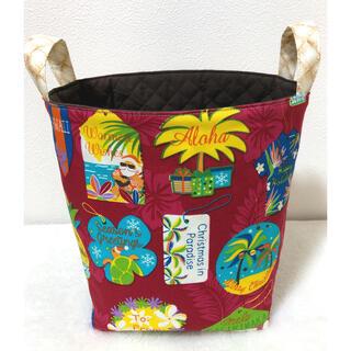 布バスケット バケツ型 ハワイアンクリスマス