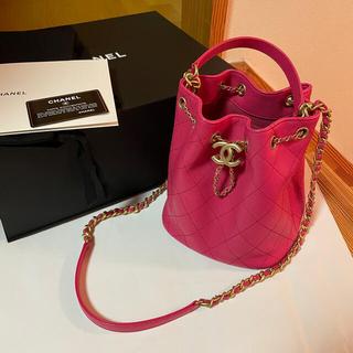 CHANEL - 2020 シャネル 巾着 バッグ バケツ ピンク マトラッセ  チェーンバッグ