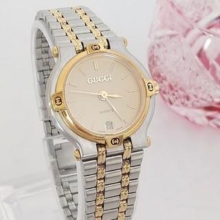 Gucci - 綺麗 グッチ 3針 デイト コンビブレス レディース 腕時計ウォッチ 着物 美品