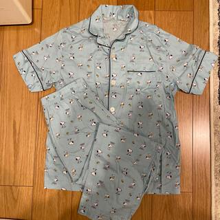 GU - gu スヌーピー パジャマ 半袖長ズボン 水色
