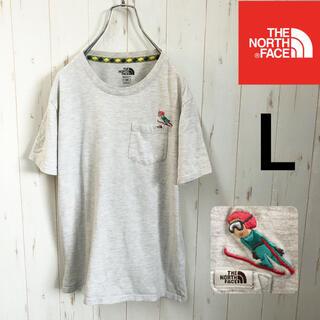 THE NORTH FACE - 【かわいいロゴ刺繍】TheNorthFace Tシャツ グレー レディースL