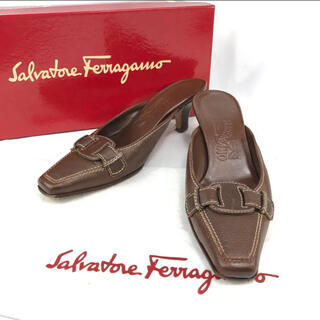 Salvatore Ferragamo - フェラガモ ヴァラ リボン ミュール レザー 約22.5cm