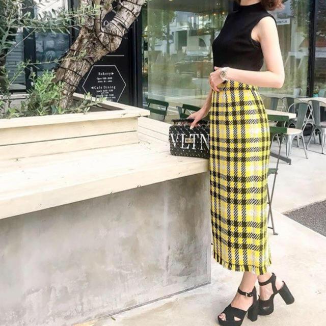 FRAY I.D(フレイアイディー)のフレイアイディー FRAY I.D★チェックタイトスカート イエロー レディースのスカート(ひざ丈スカート)の商品写真