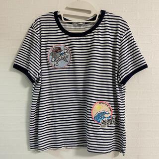 ベルシュカ(Bershka)のBershka ワッペン 刺繍 Tシャツ ボーダー L(Tシャツ(半袖/袖なし))