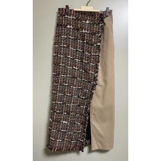 TOMORROWLAND - ロングスカート ツイード 切り替え スカート ベージュ ラップスカート 風