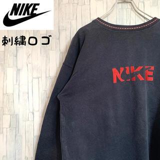 NIKE -  ナイキ NIKE★古着 刺繍ロゴ スウェット トレーナー ネイビー 紺