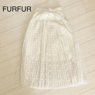 ファーファー(fur fur)のFURFUR ドットシフォンワンピース(ロングスカート)