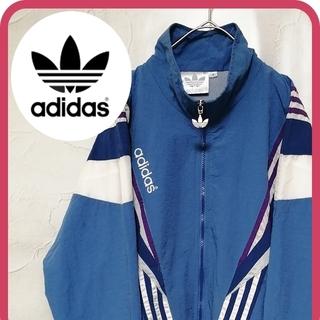 adidas - 90s アディダス ナイロンジャケット 青 白 紫 刺繍ロゴ 銀タグ ビンテージ