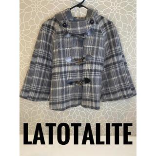 【LaTotalite】日本製 ポンチョ ウール GRY レディース チェック柄