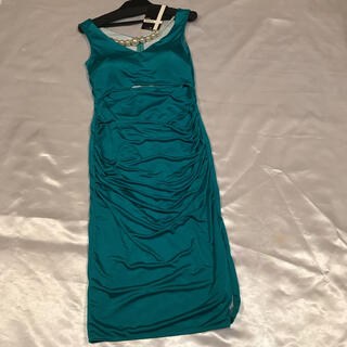 高級ドレス◆日本製◆Lexxyエメグリ+パールアクセ付きミディアムドレス◆(ミディアムドレス)