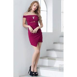 デイジーストア(dazzy store)のキャバ ドレス ワインレッド オフショルダー(ナイトドレス)