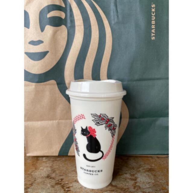 Starbucks Coffee(スターバックスコーヒー)の台湾 スターバックス 2020年 クリスマス限定 ネコ 猫 リユーザブルカップ  インテリア/住まい/日用品のキッチン/食器(グラス/カップ)の商品写真