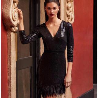 ビーシービージーマックスアズリア(BCBGMAXAZRIA)の❤️ BCBGMAXAZRIA2020新作新品 黒ワンピース ドレス(ひざ丈ワンピース)