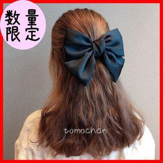 リボン バレッタ ヘアピン ロリータ 髪飾り コスプレ ブラック 大きめ 韓国