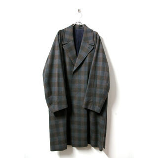 サンシー(SUNSEA)のURU(ウル)/WOOL CHECK BELTED COAT/Gray(チェスターコート)
