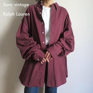 POLO RALPH LAUREN - 90s ラルフローレン 刺繍ロゴ シャツ ワイン×グリーン 古着女子