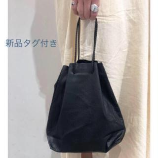 トゥデイフル(TODAYFUL)の新品 紙タグ付き レザー パース 巾着 ブラック(ショルダーバッグ)