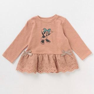 プティマイン(petit main)のプティマイン 120 ミニーマウスデザイン 裾レースペプラムTシャツ(Tシャツ/カットソー)