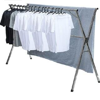 25 物干し 洗濯物干し 布団干し 無組立 多機能 大容量 ステンレス 伸縮