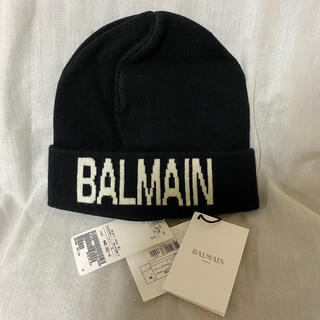 バルマン(BALMAIN)の新品 本物 正規品 バルマン メンズ ニット帽 ビーニー 帽子 黒 カシミア(ニット帽/ビーニー)