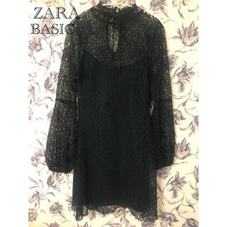 ZARA - ZARA BASIC ザラベーシック 深緑色ワンピース【Mサイズ】