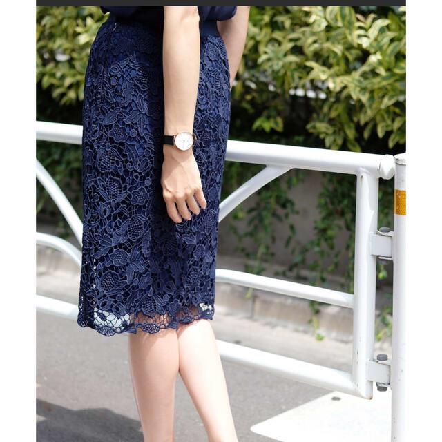 STRAWBERRY-FIELDS(ストロベリーフィールズ)の【STRAWBERRY-FIELDS】DVリーフルレース スカート レディースのスカート(ひざ丈スカート)の商品写真