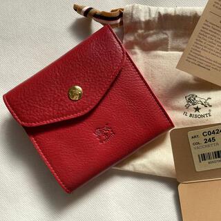 イルビゾンテ(IL BISONTE)のIL BISONTE イルビゾンテ 二つ折り ダブルフラップ式 財布 レッド(財布)