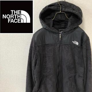 ザノースフェイス(THE NORTH FACE)のノースフェイス☆刺繍ロゴ フリースパーカー ブラック レディース L(パーカー)