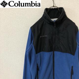 コロンビア(Columbia)のコロンビア フリースジャケット フルジップ 刺繍ロゴ ブラック/ブルー(ブルゾン)