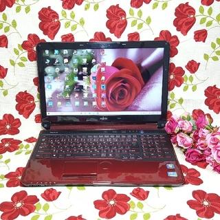 富士通 - ♪綺麗な赤色LIFEBOOK♪最新WIN10/2世代CORE-I3/カメラ搭載