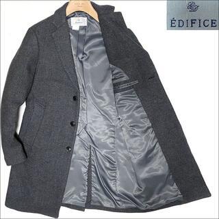 エディフィス(EDIFICE)のJ5193 良品 エディフィス メルトンチェスターコート グレー 46(チェスターコート)