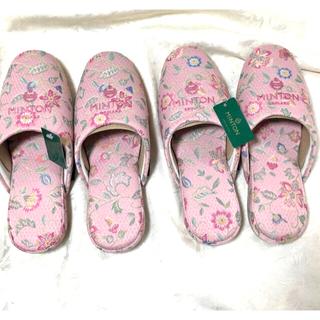 ミントン(MINTON)の新品 ミントン  スリッパ 花 刺繍 ハドンホール 2足 ピンク (スリッパ/ルームシューズ)