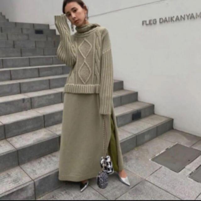 Ameri VINTAGE(アメリヴィンテージ)の【MMMM様専用】CABLE KNIT& CHIFFON DRESS! レディースのトップス(ニット/セーター)の商品写真