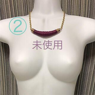 ②秋冬 毛糸 オリエンタル ネックレス バー 個性的 赤紫(ネックレス)