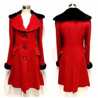 Vivienne Westwood - ヴィヴィアンウエストウッド アンゴラ混 ファー付き ラブ襟 コート