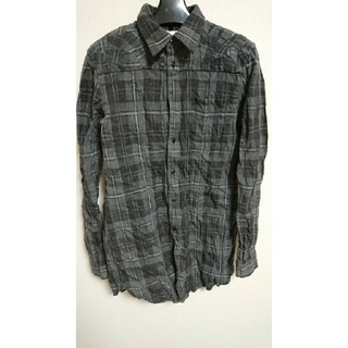 アンリアレイジ(ANREALAGE)のanrealage シワ加工チェックパッチワークロングシャツ1グレー(シャツ)