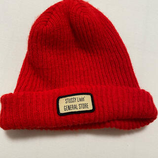 ステューシー(STUSSY)のSTUSSY/ステューシー ニット帽 赤(ニット帽/ビーニー)