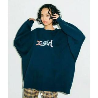 X-girl - X-girl BIGシルエットロゴトップ ネイビー エックスガール トレーナー