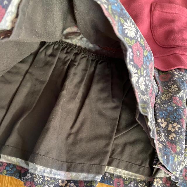 petit main(プティマイン)のプティマイン 花柄スカートドッキングワンピース 100cm キッズ/ベビー/マタニティのキッズ服女の子用(90cm~)(ワンピース)の商品写真